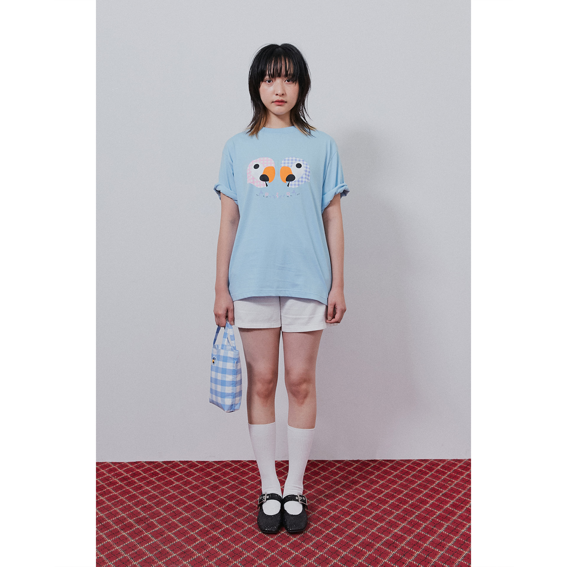 KANCO CHECK TEE sky blue