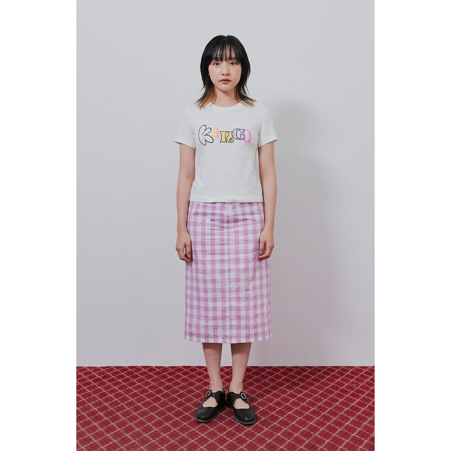 KANCO TYPO CROP TEE white