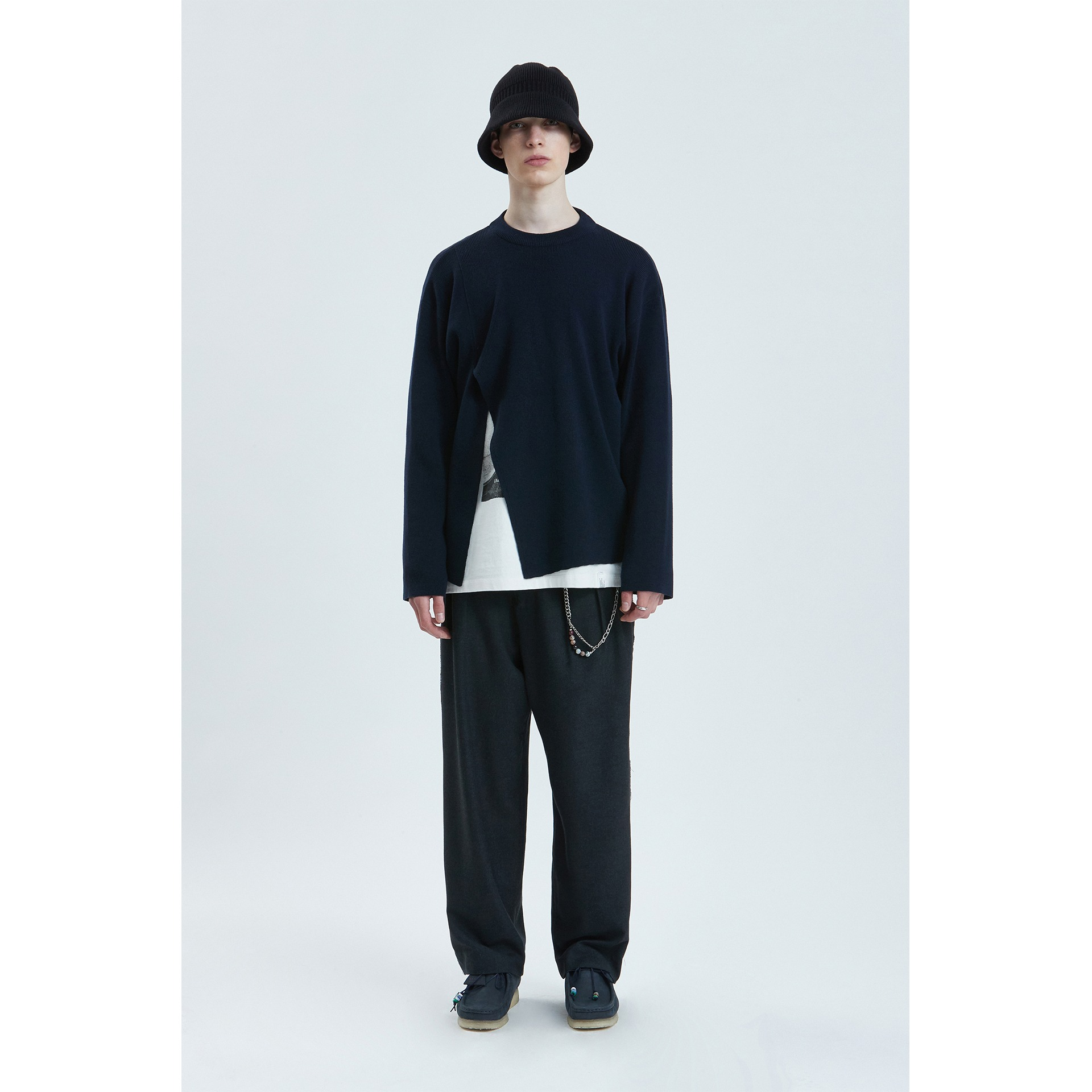 LIFUL SIDE SLIT KNIT SWEATER dark navy
