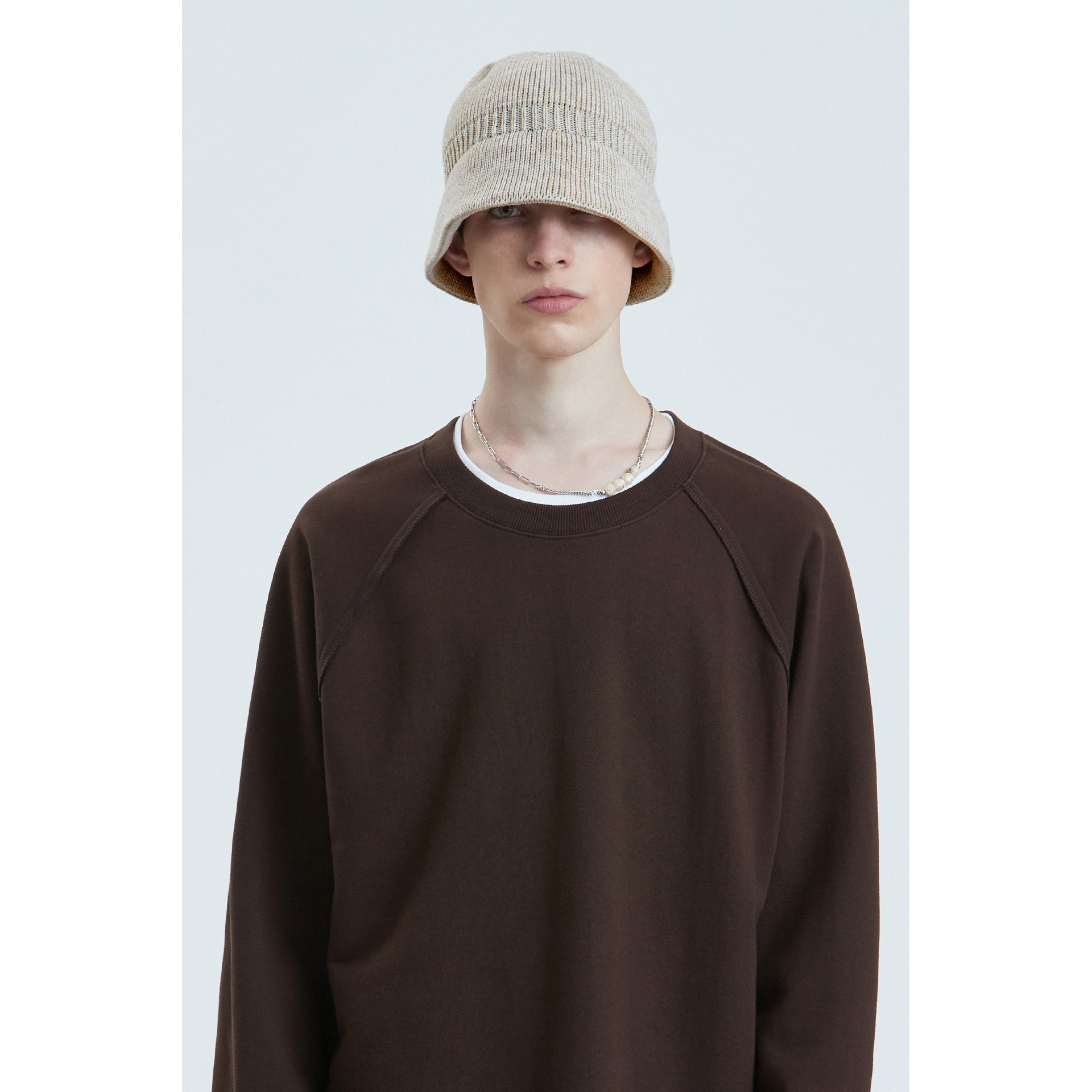LIFUL KNIT BUCKET HAT beige
