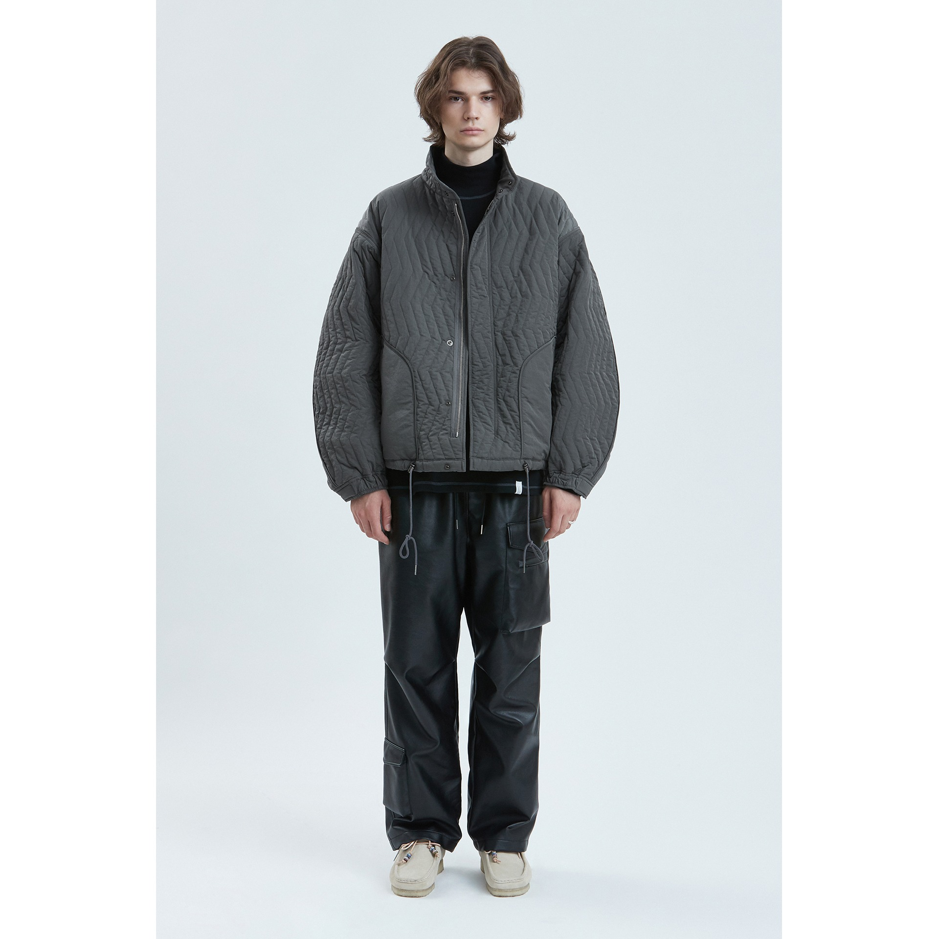 LIFUL QUILTED M-65 SHORT PARKA gray