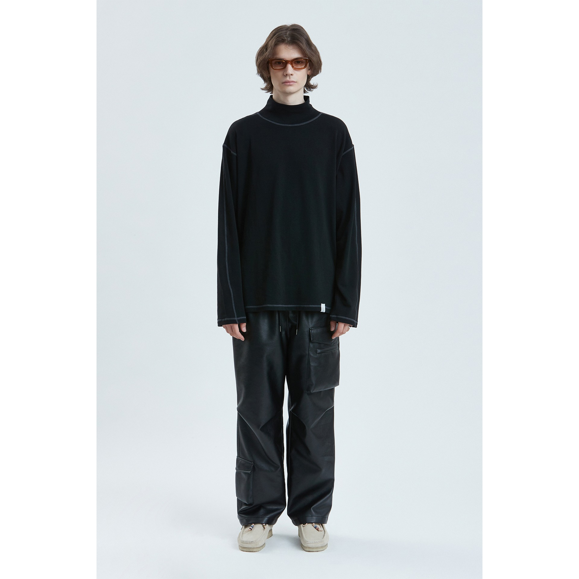 LIFUL CONTRAST TURTLENECK LONG SLEEVE TEE black