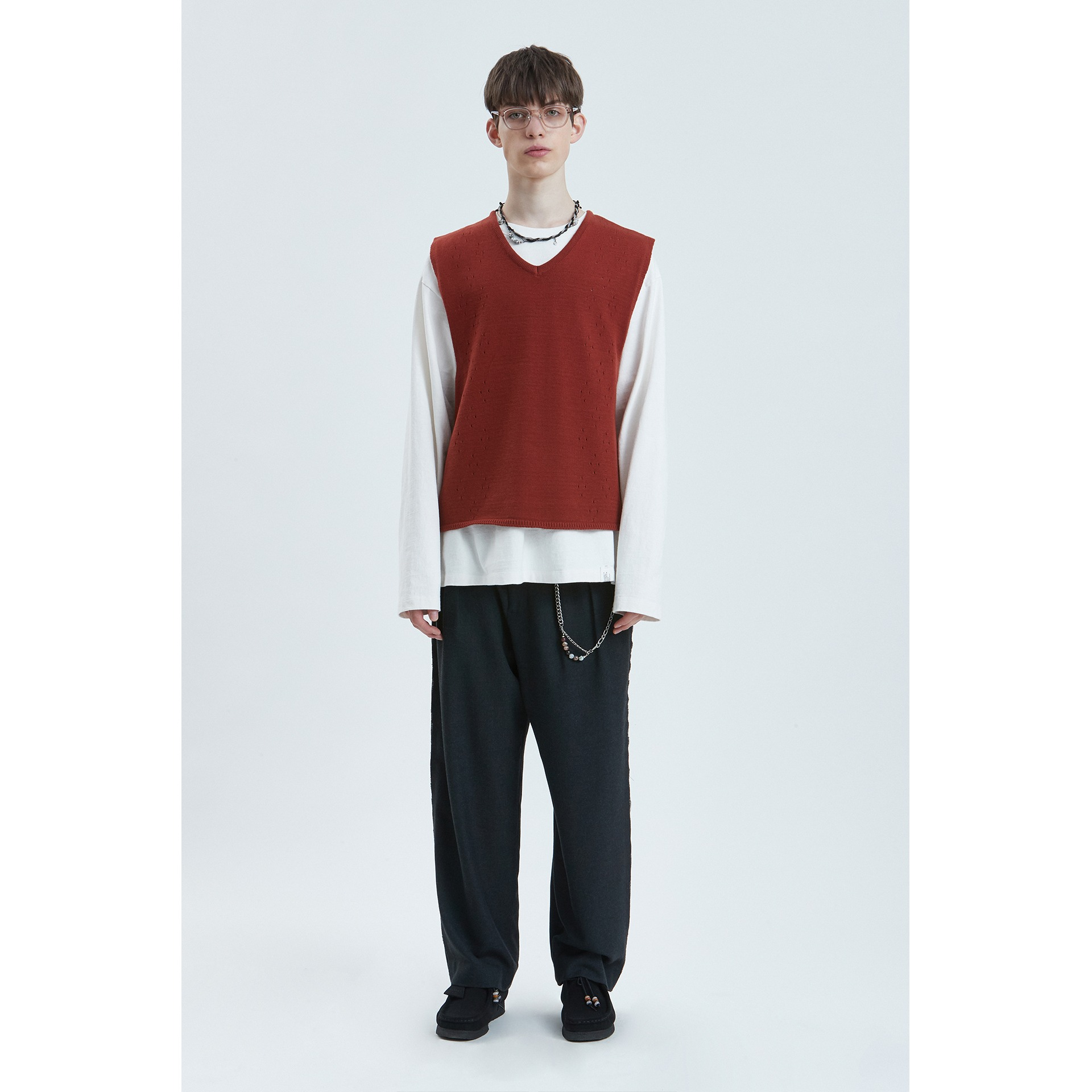 LIFUL SKASHI KNIT VEST red brown