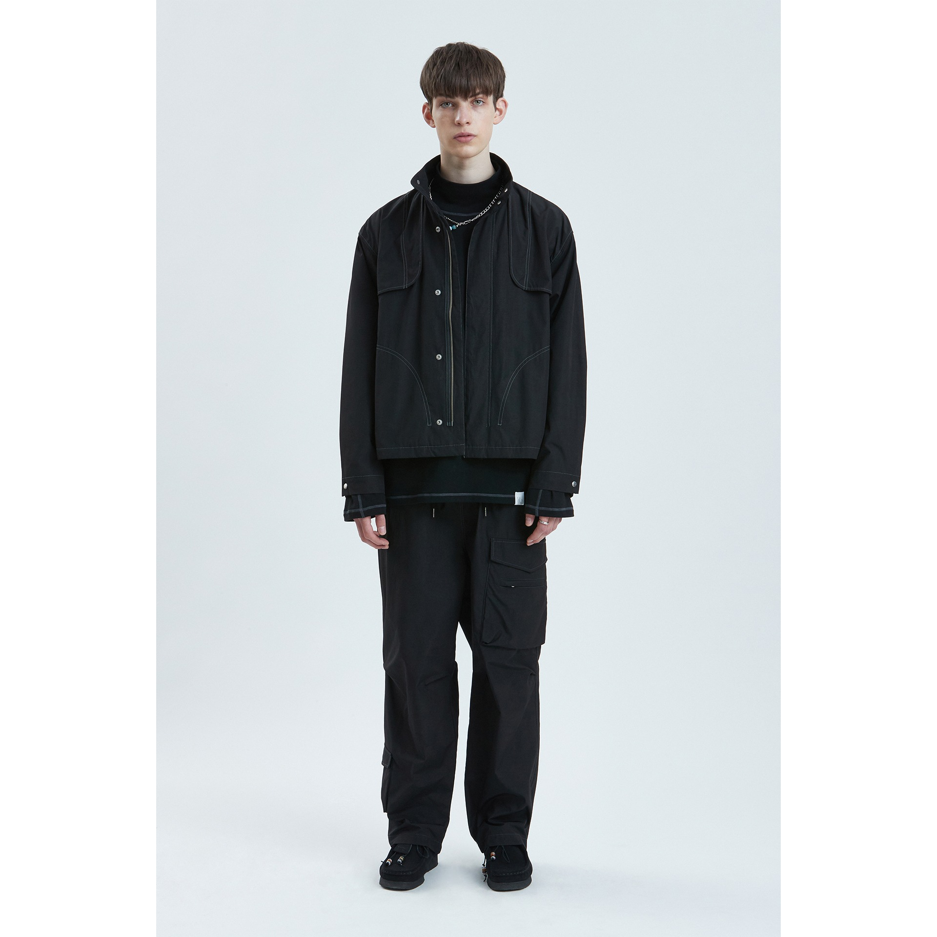 LIFUL CONTRAST STITCH FLAP JACKET black