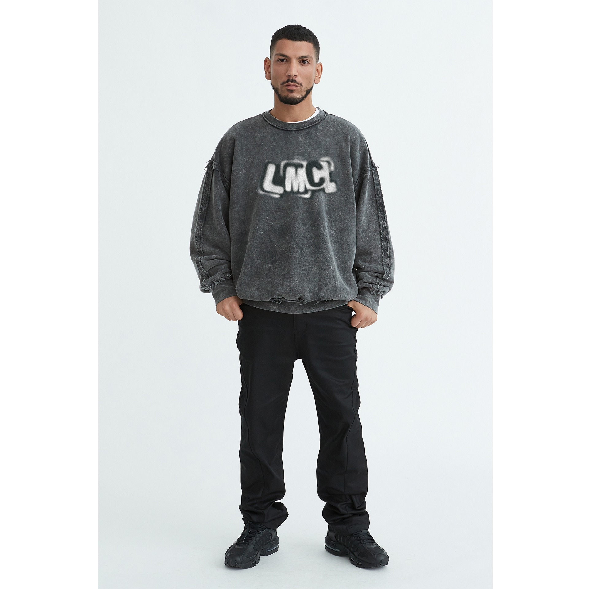 LMC ACID WASHED X-RAY OVERSIZED SWEATSHIRT charcoal