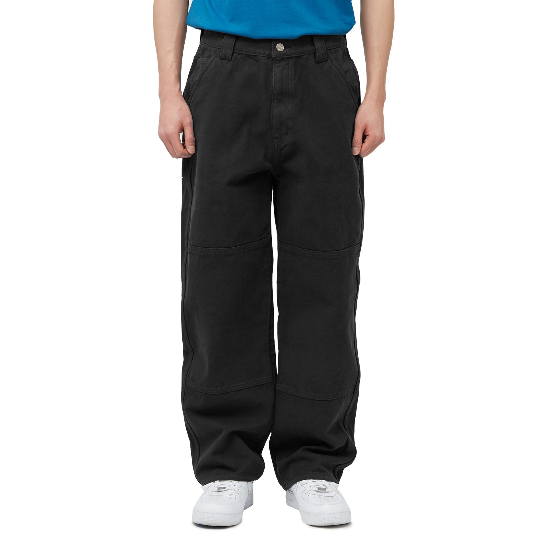 LMC OVERWASHED CANVAS DOUBLE KNEE PANTS black