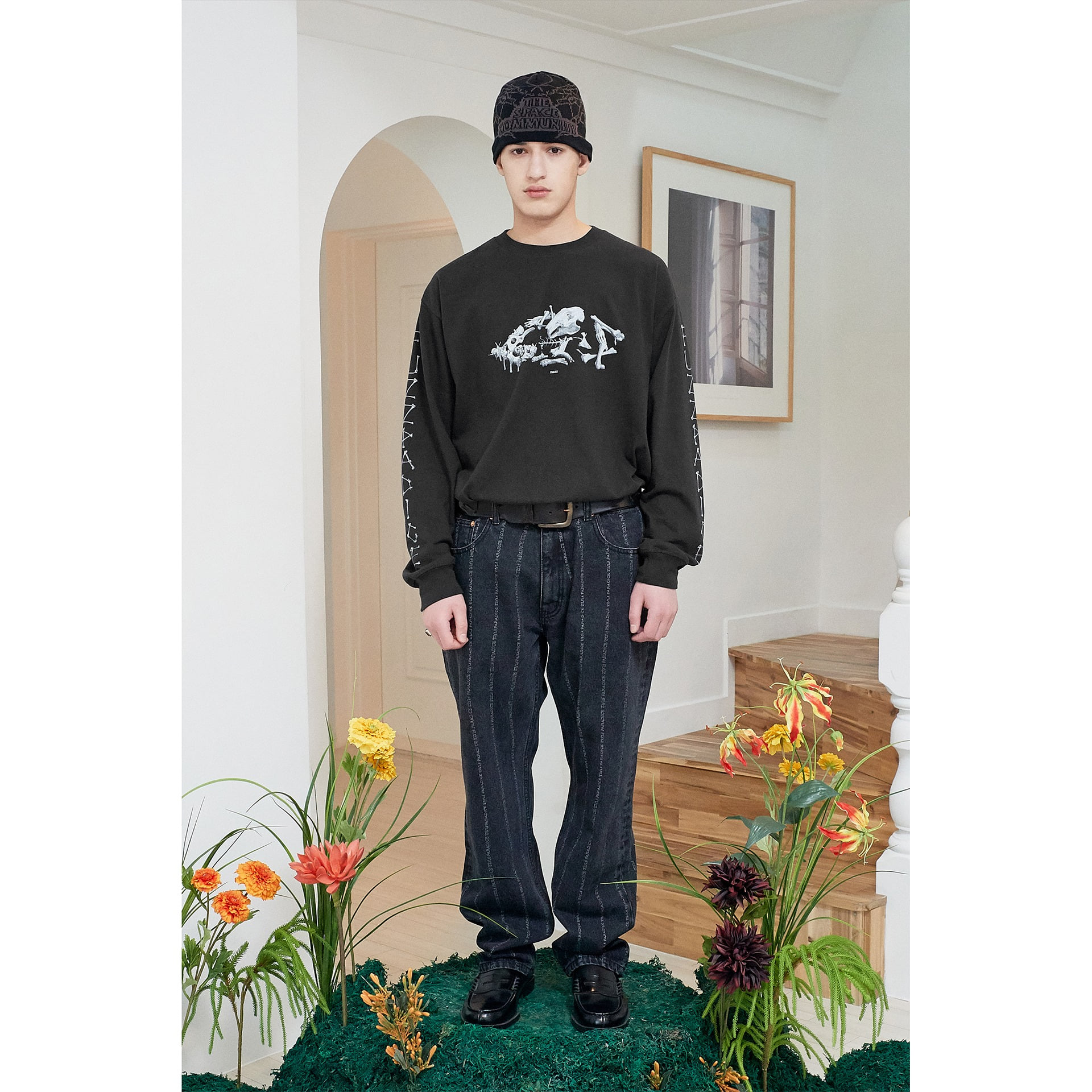 FUZZ BUNNY ASHES L/S TEE dark charcoal