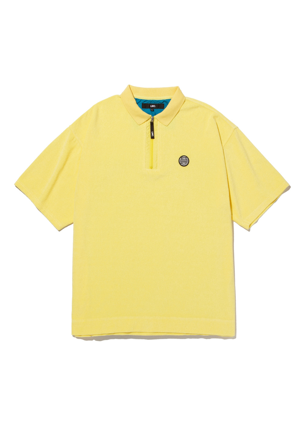 LMC TERRY ZIP POLO SHIRT lemon yellow