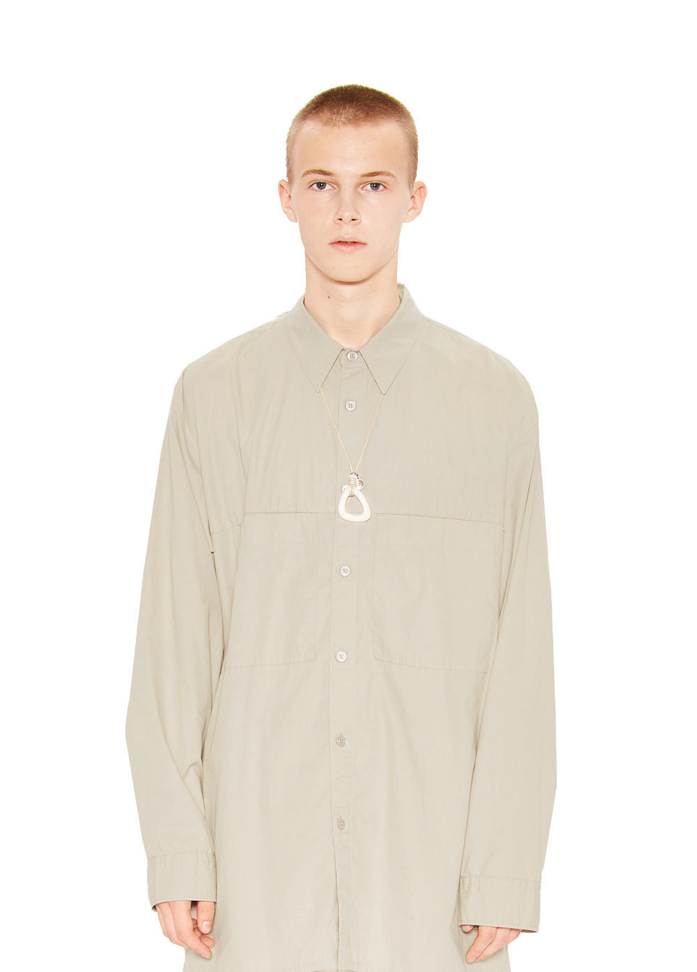 TWO POCKET LONG SHIRT light beige