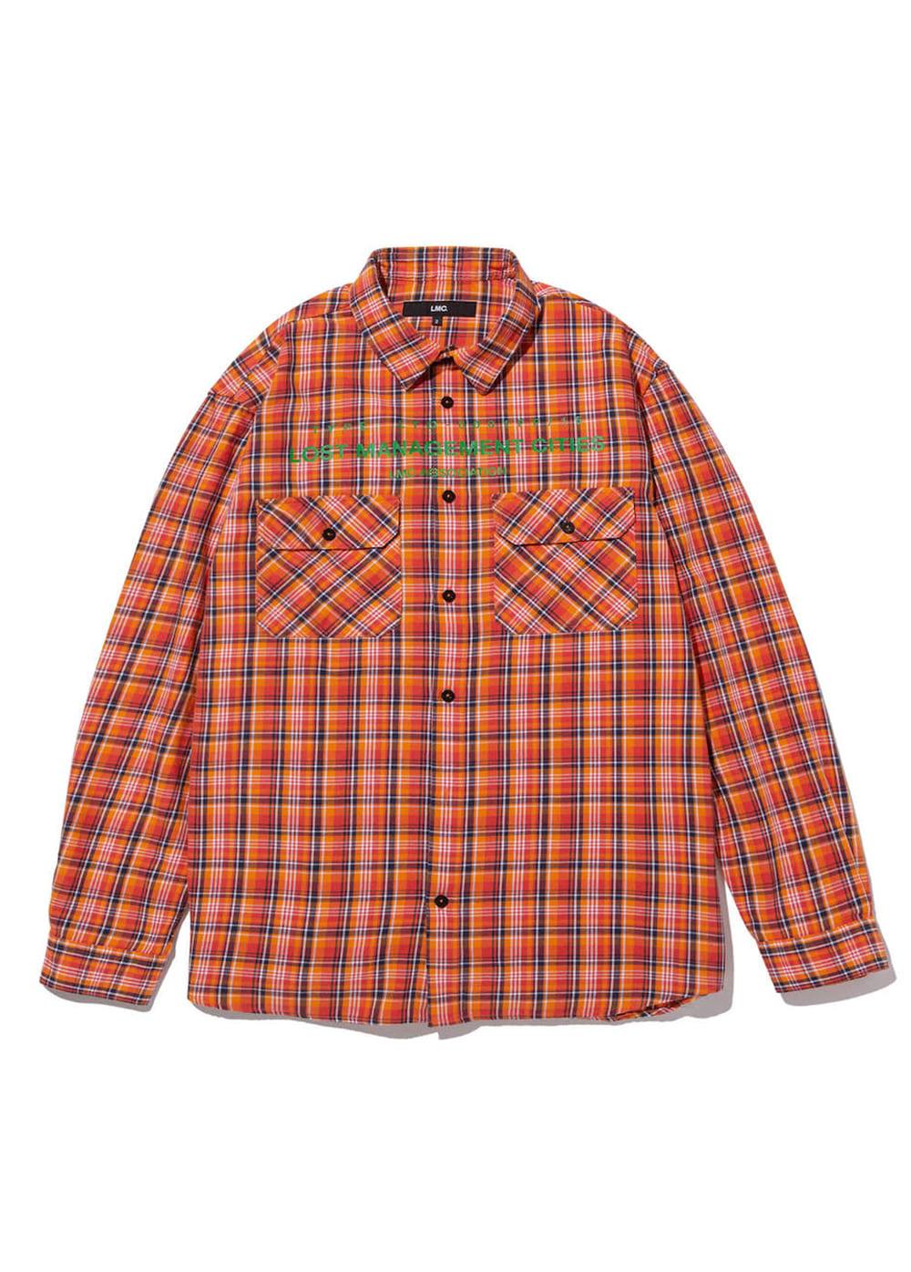 LMC TOP ASSOCIATION PLAID SHIRT orange