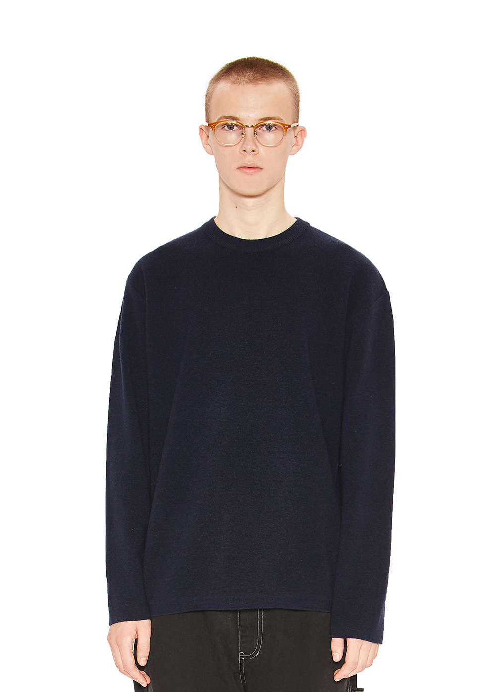 CASHMERE KNIT SWEATER navy