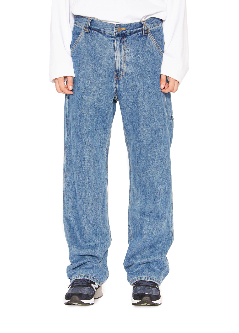 WASHED BOOTS CUT DENIM PANTS blue