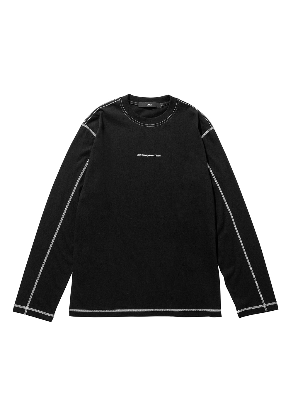 LMC CONTRAST STITCH LONG SLV TEE black