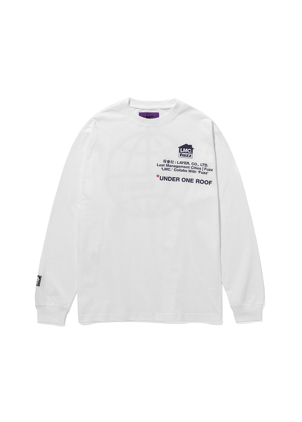 LMC x FUZZ HOUSE LONG SLV TEE white