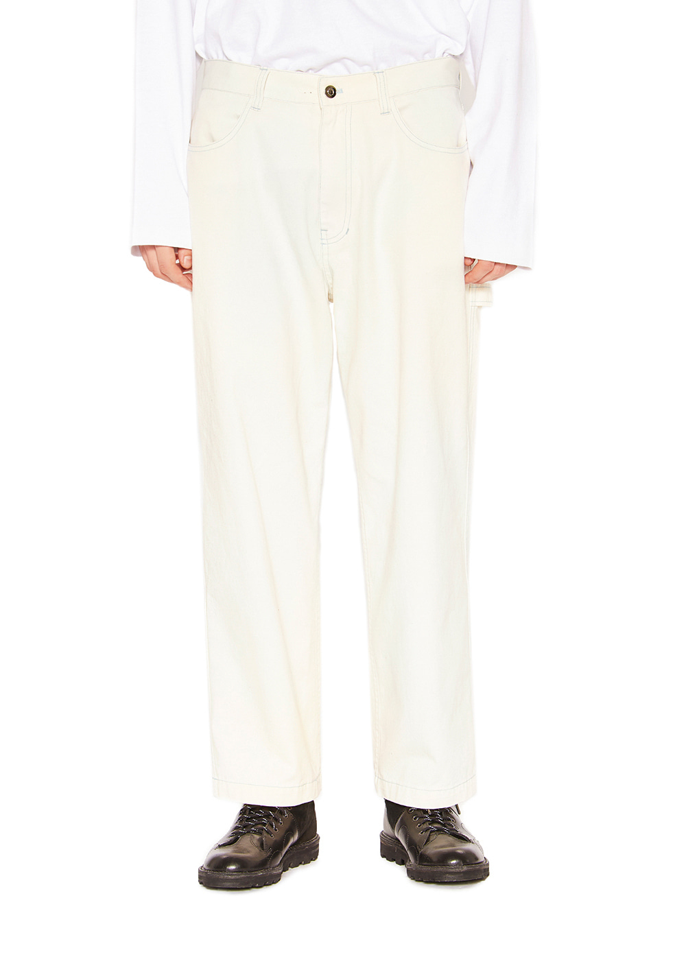 WASHED WORK PANTS ivory