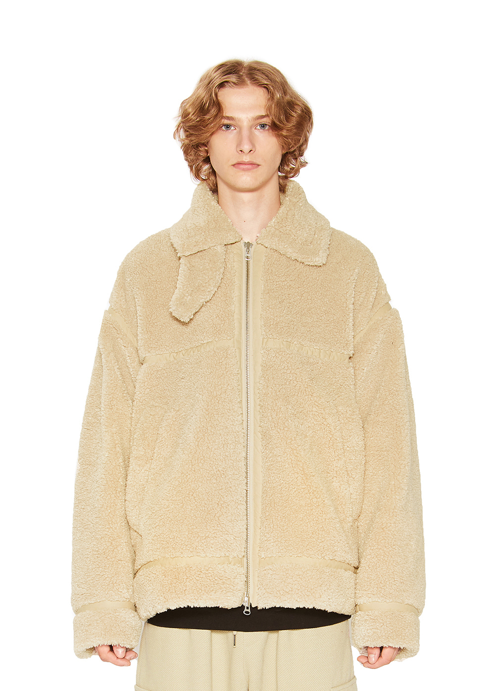 COLLAR SHERPA JACKET ivory