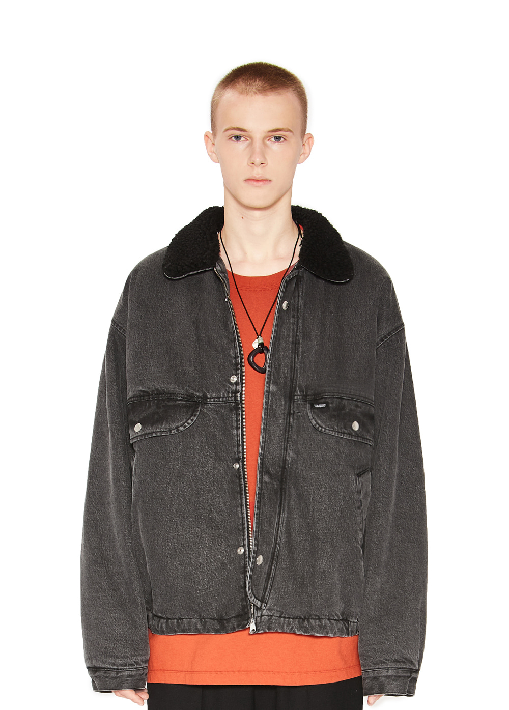 DENIM SHERPA JACKET black