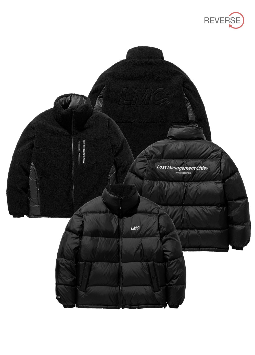 LMC BOA FLEECE REVERSIBLE DOWN PARKA bk/bk