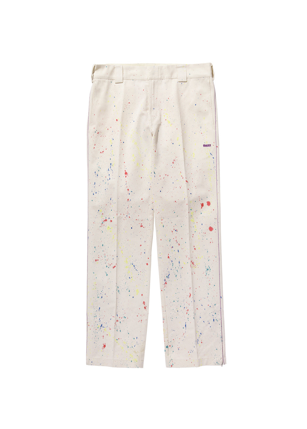 FUZZ SIDE ZIP PAINT SPLATTER COTTON PANTS ivory