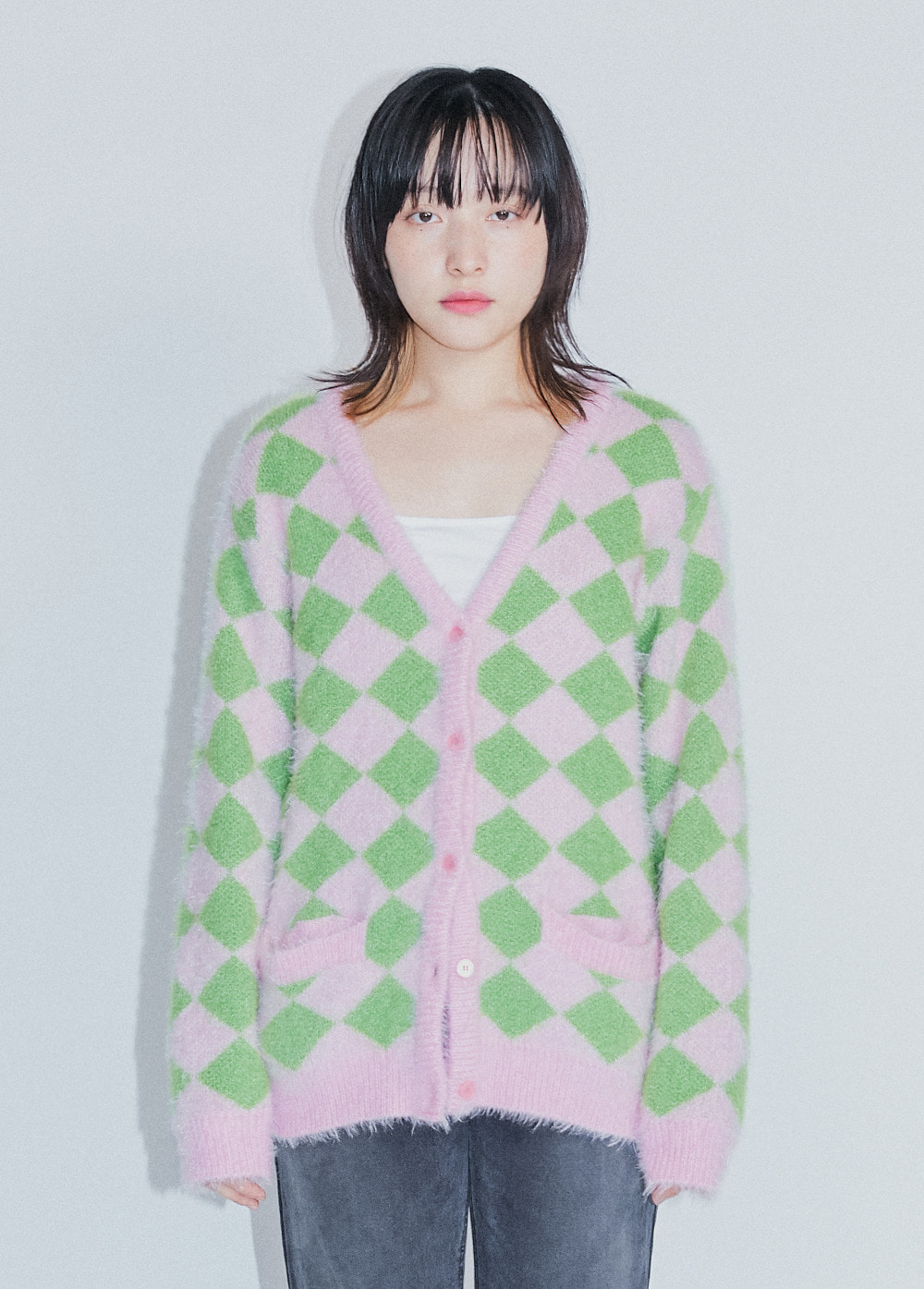 KANCO ARGYLE CARDIGAN pink/green