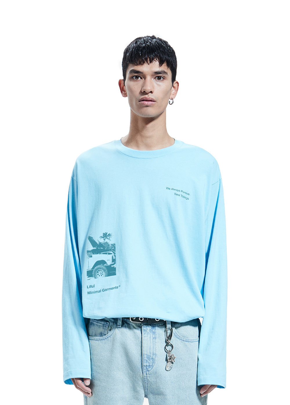 KOKO MARINA GRAPHIC LONG SLEEVE TEE sky blue