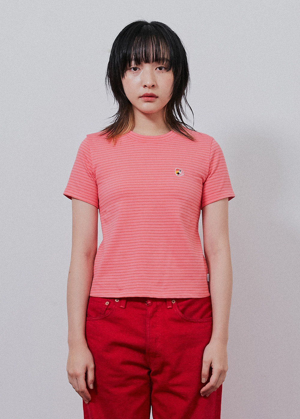 KANCO STRIPE CROP TEE pink