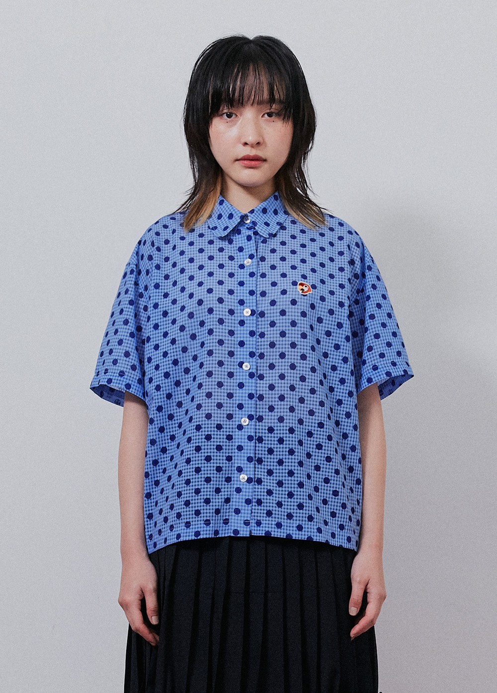 KANCO ROUND COLLAR SHORT SHIRT blue