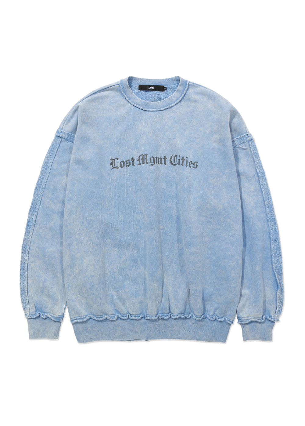 LMC OVERDYED RAW EDGE OVERSIZED SWEATSHIRT lt. blue