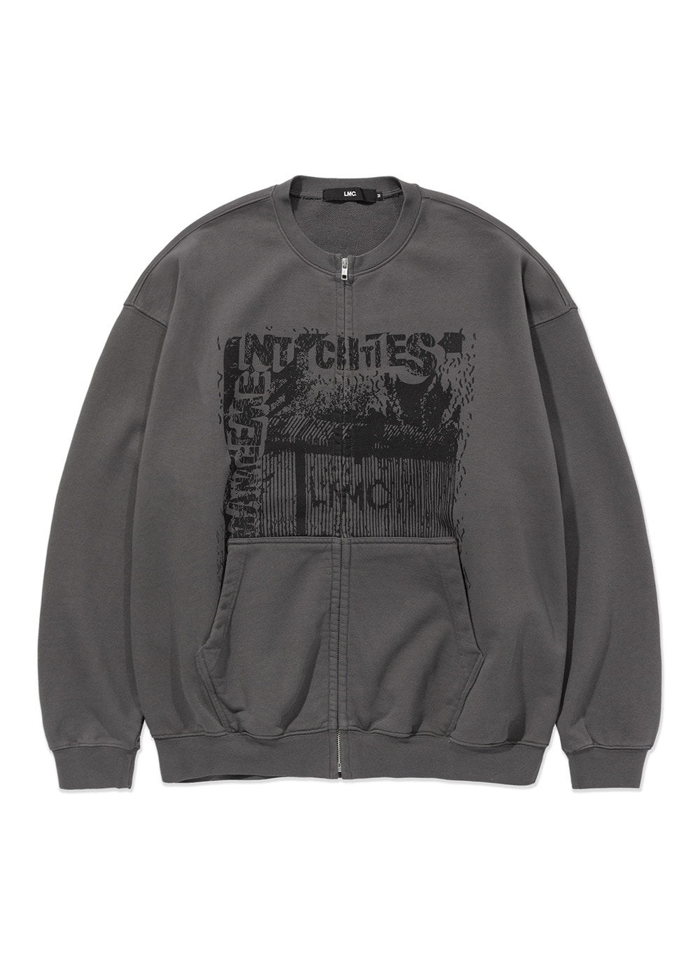 LMC BORDER OVERSIZED ZIP-UP SWEATSHIRT charcoal