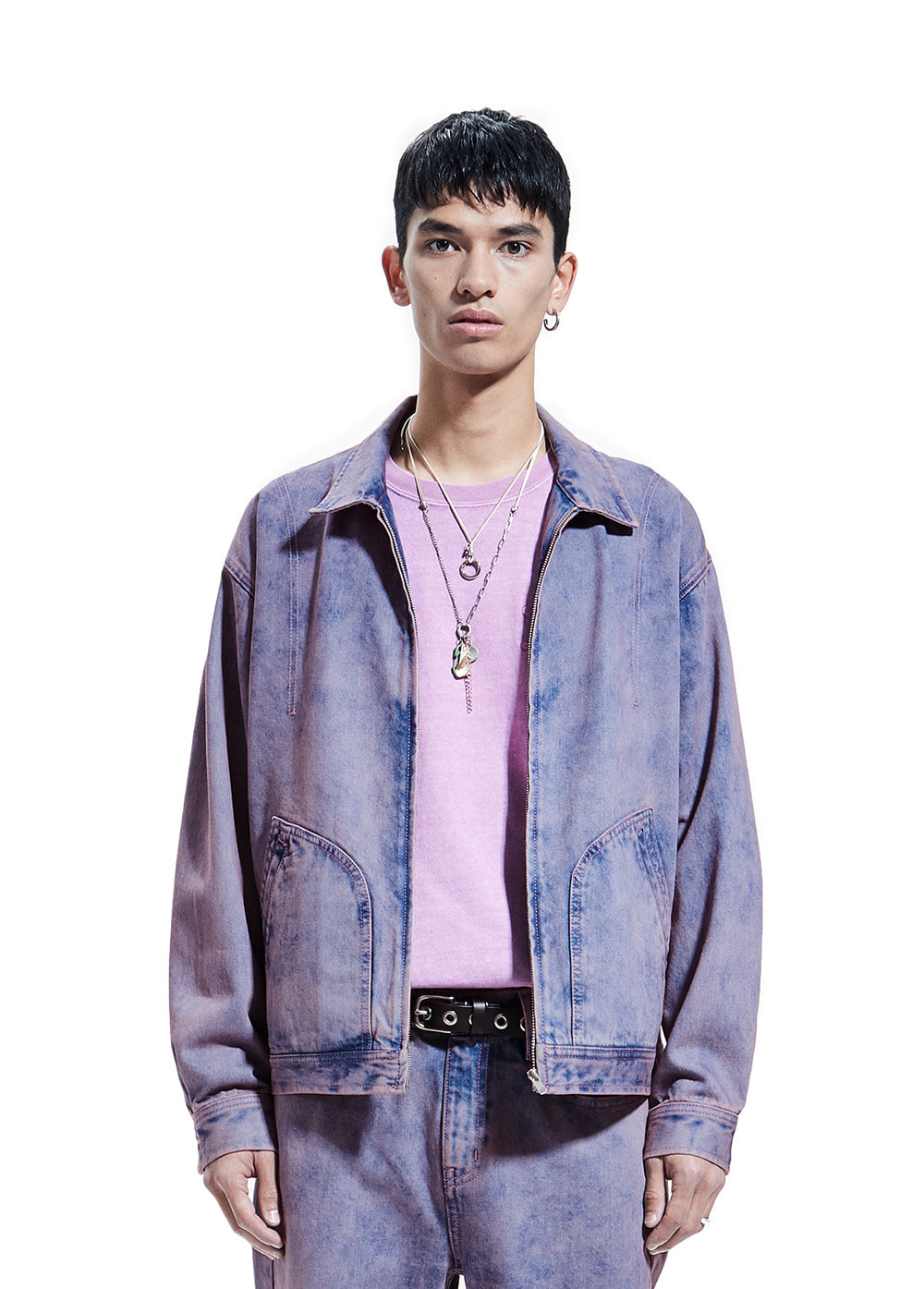 TWO TONE DENIM WORK JACKET pink