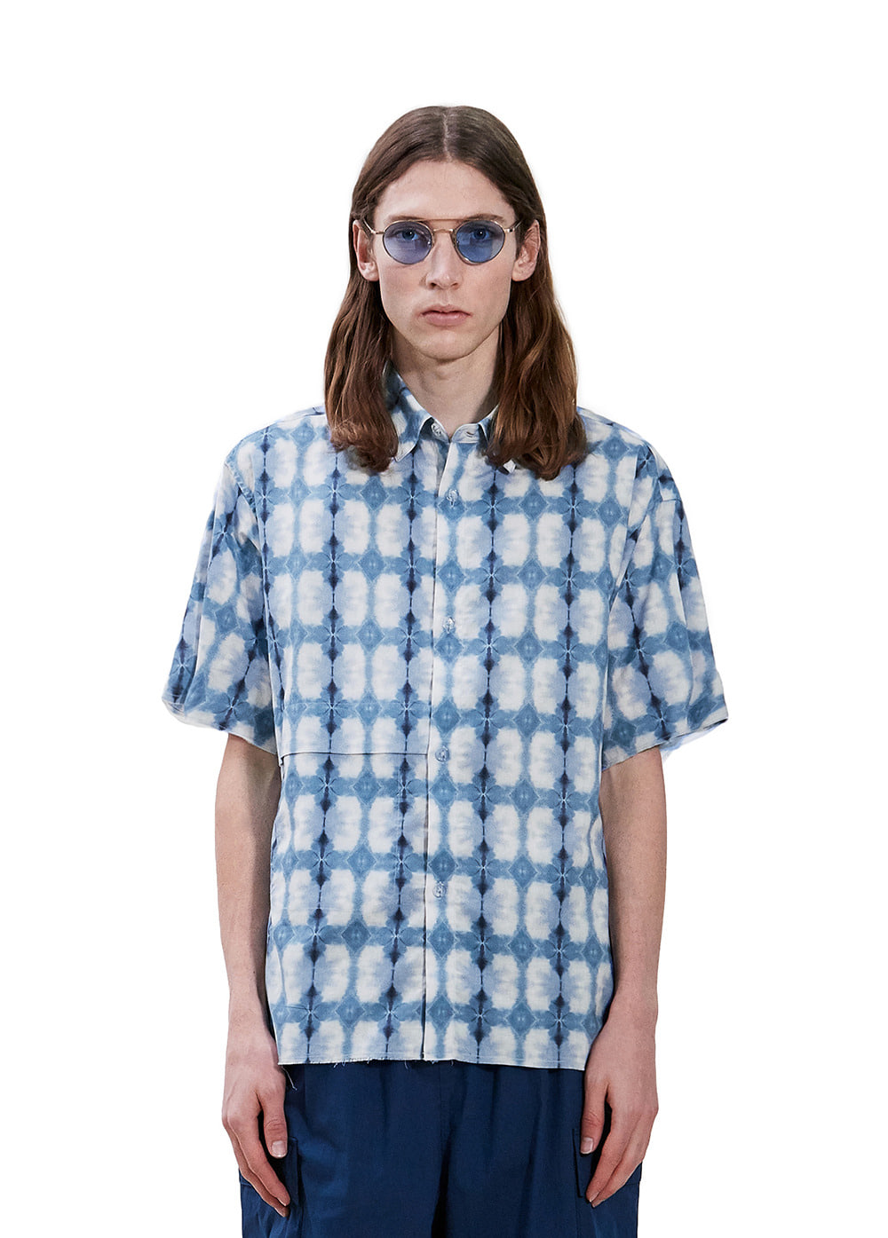 CUT-OFF SHORT SLEEVE SHIRT blue/white mariposa
