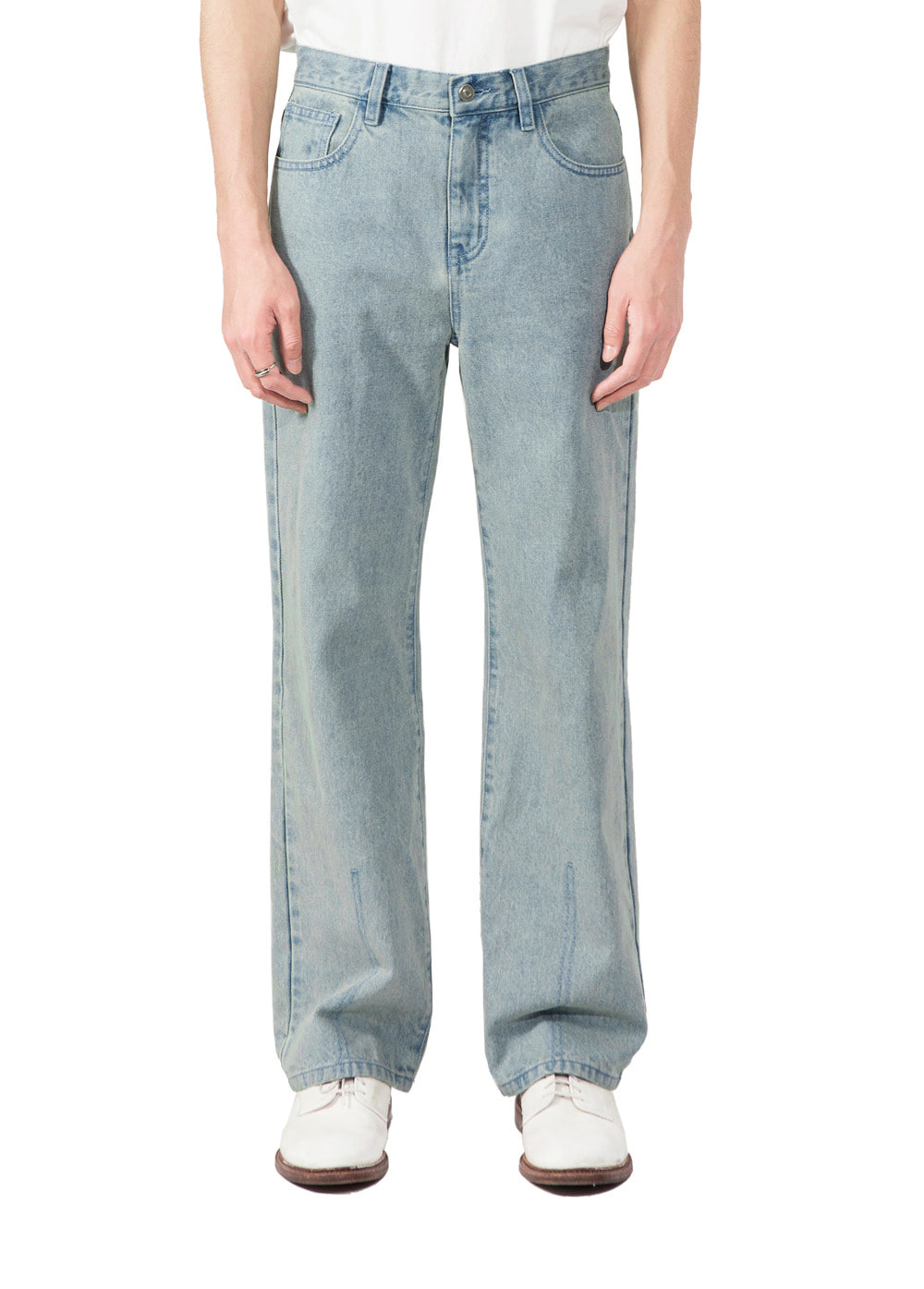 TWO TONE STRAIGHT DENIM PANTS beige
