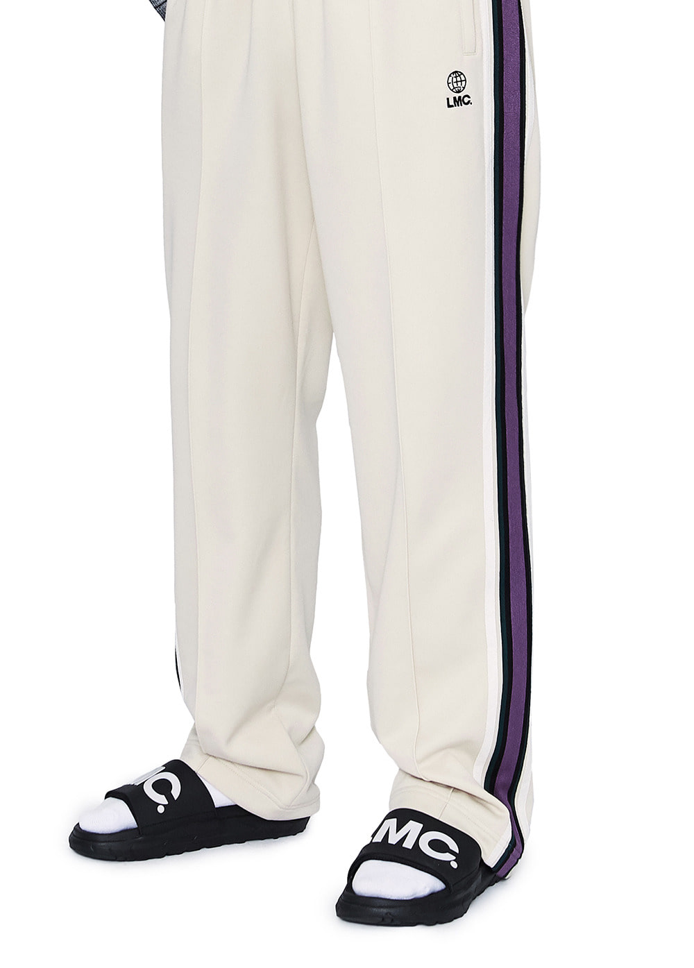 LMC SIDE STRIPED JERSEY PANTS ivory