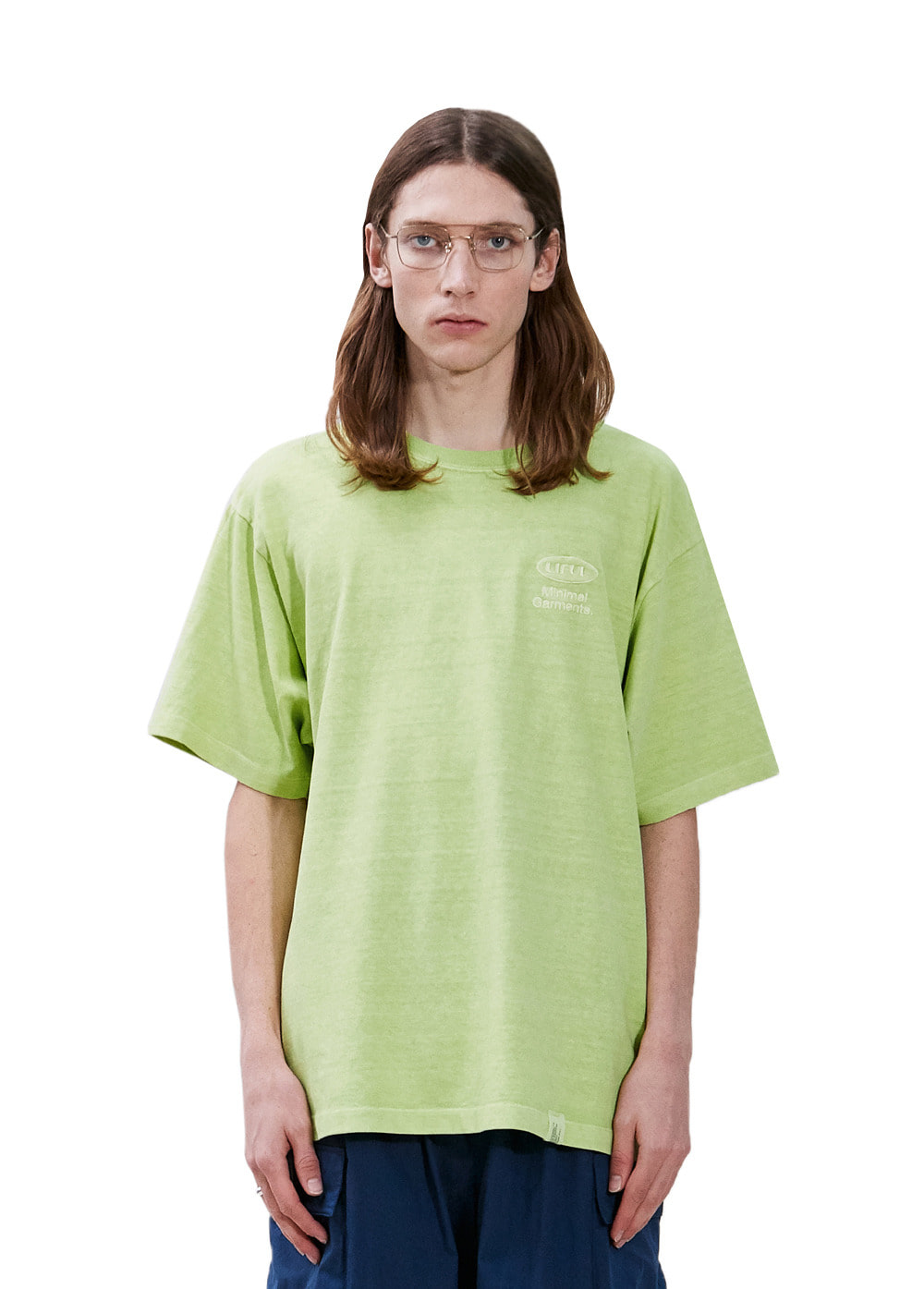 P-DYED OVAL LOGO TEE yellow green