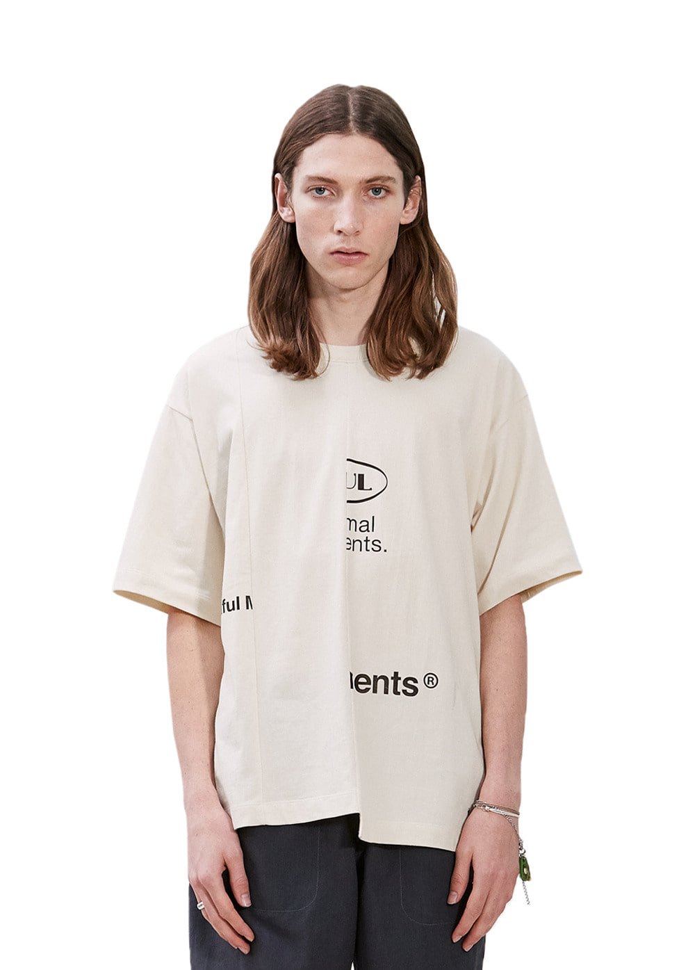 SPLIT LOGO TEE cream