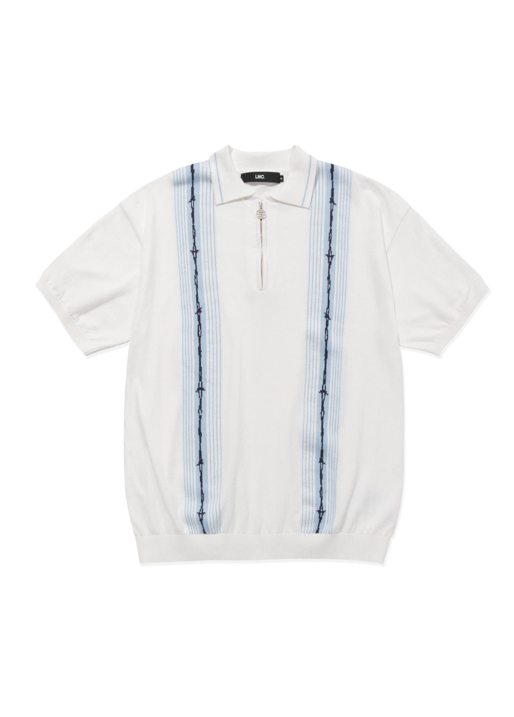 LMC BARBWIRE KNIT POLO SHIRT white