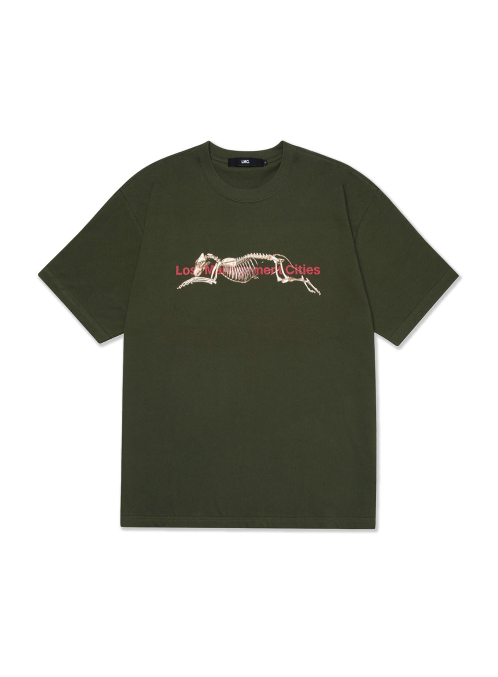 LMC SKELETON DOG TEE olive