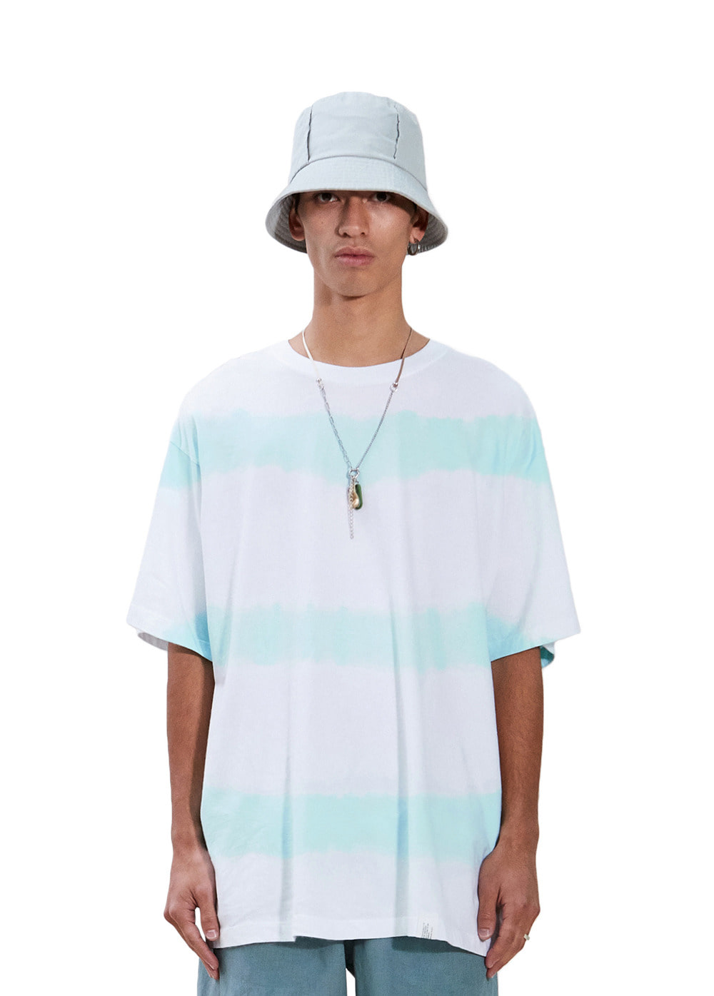 STRIPE TIE-DYE TEE snow white