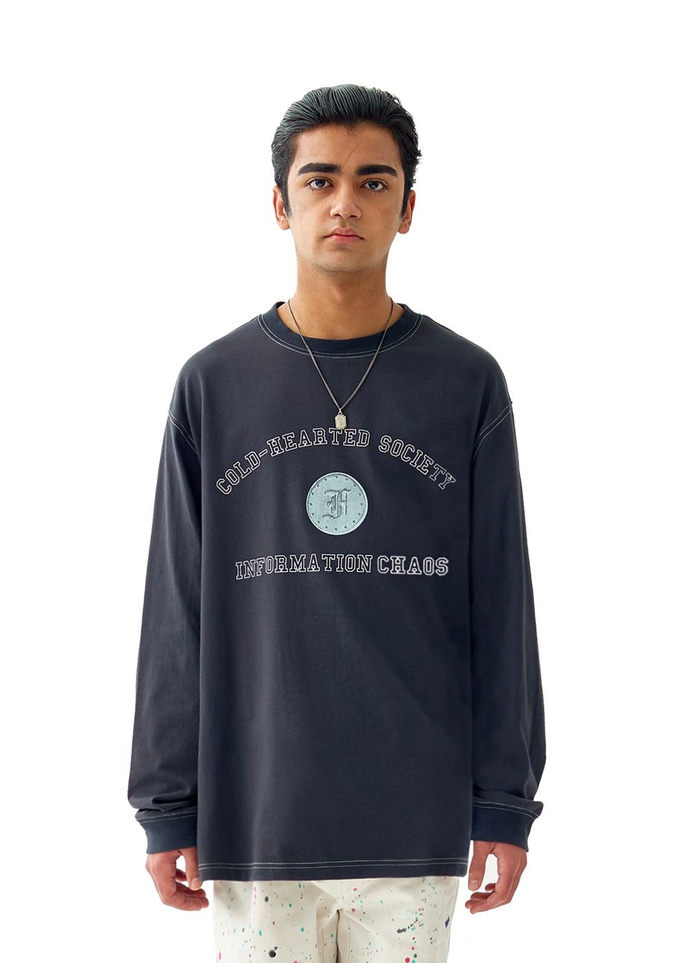 FUZZ ARCH L/S TEE charcoal