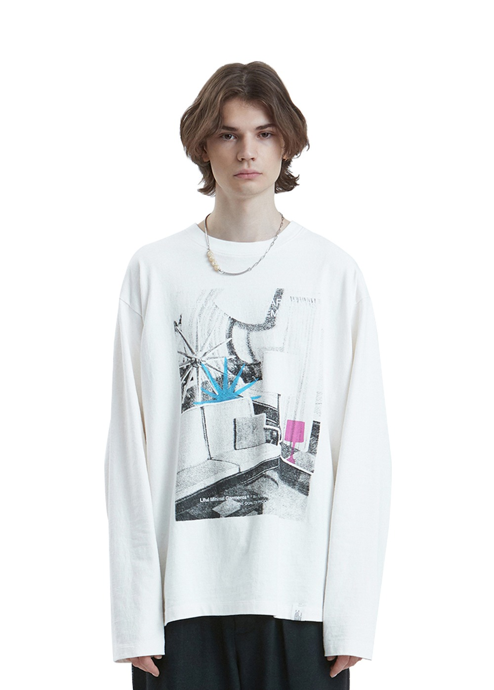 LIFUL FURNITURE COLLAGE LONG SLEEVE TEE off white