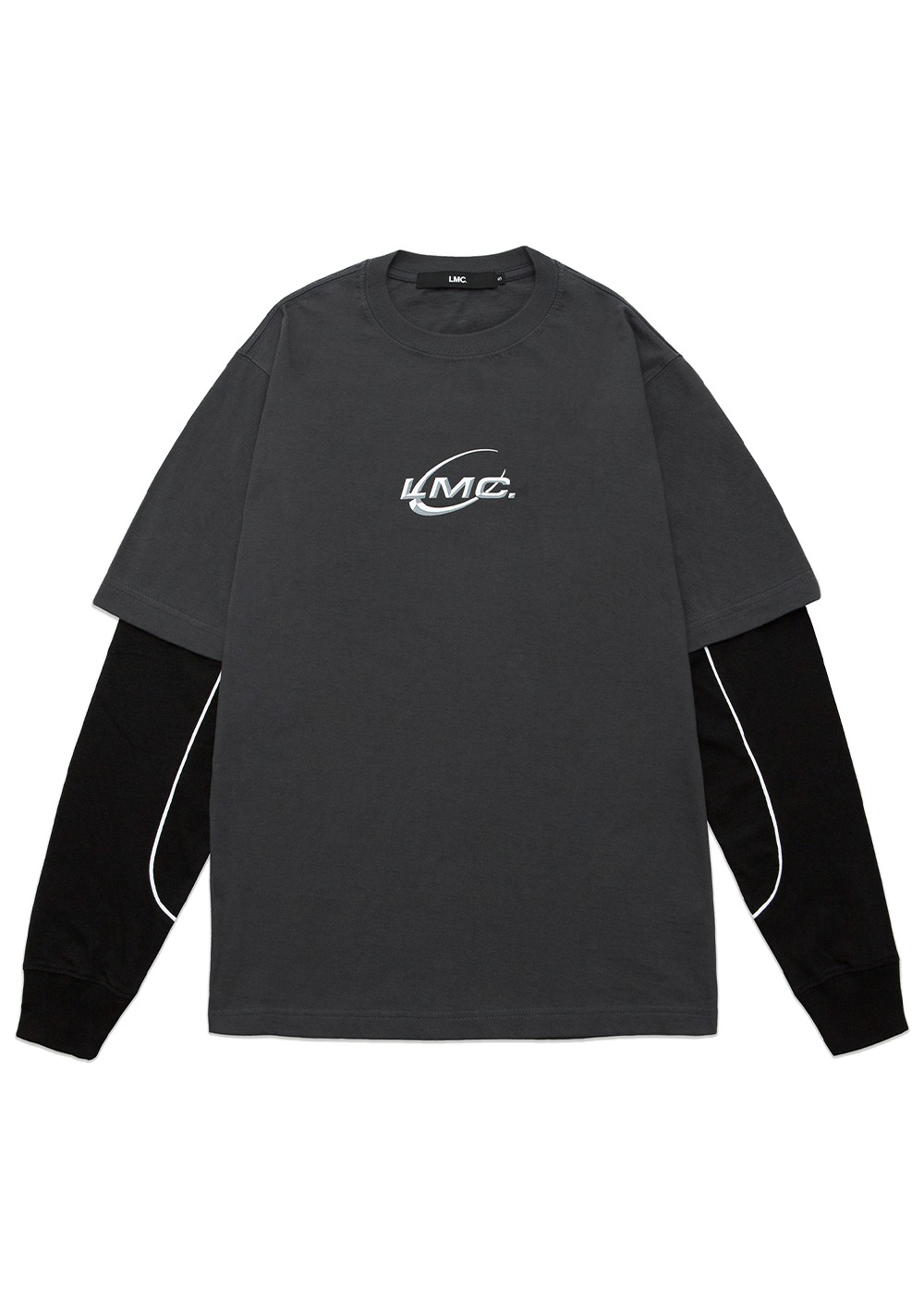 LMC PIPE LINE LAYERED LONG SLV TEE dk gray