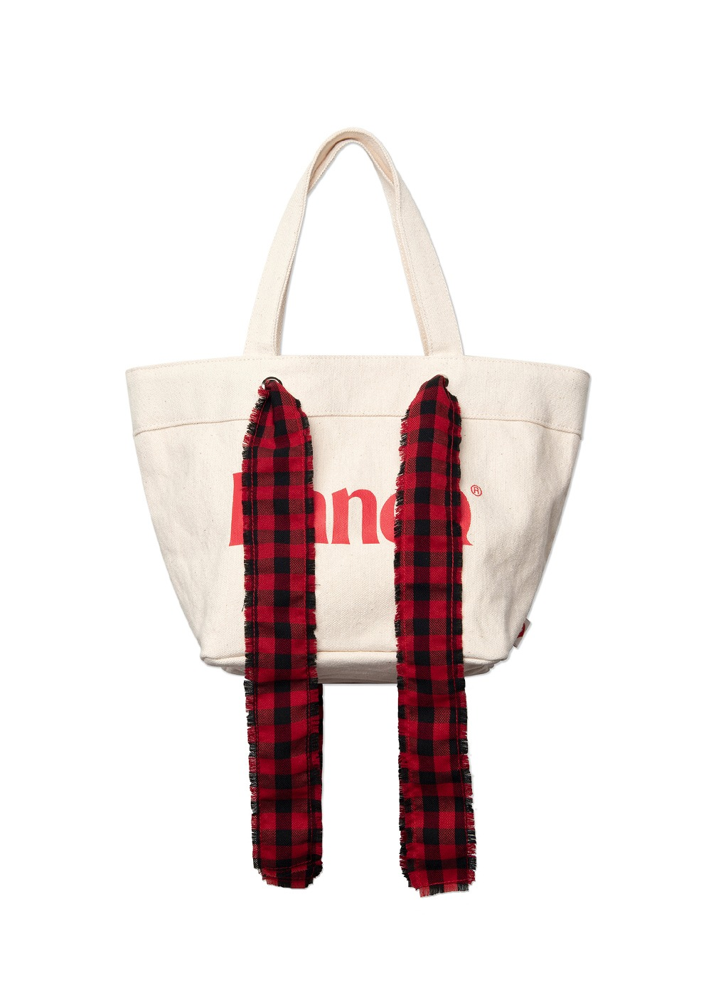 KANCO CHECK STRAP CANVAS TOTE BAG ivory