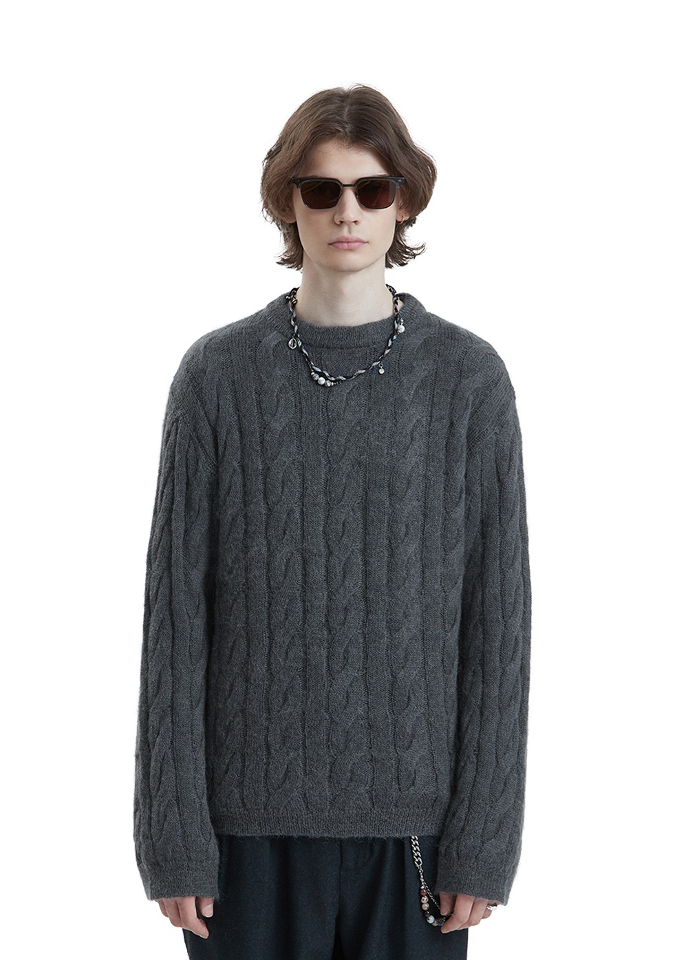 LIFUL KID MOHAIR CABLE KNIT SWEATER charcoal
