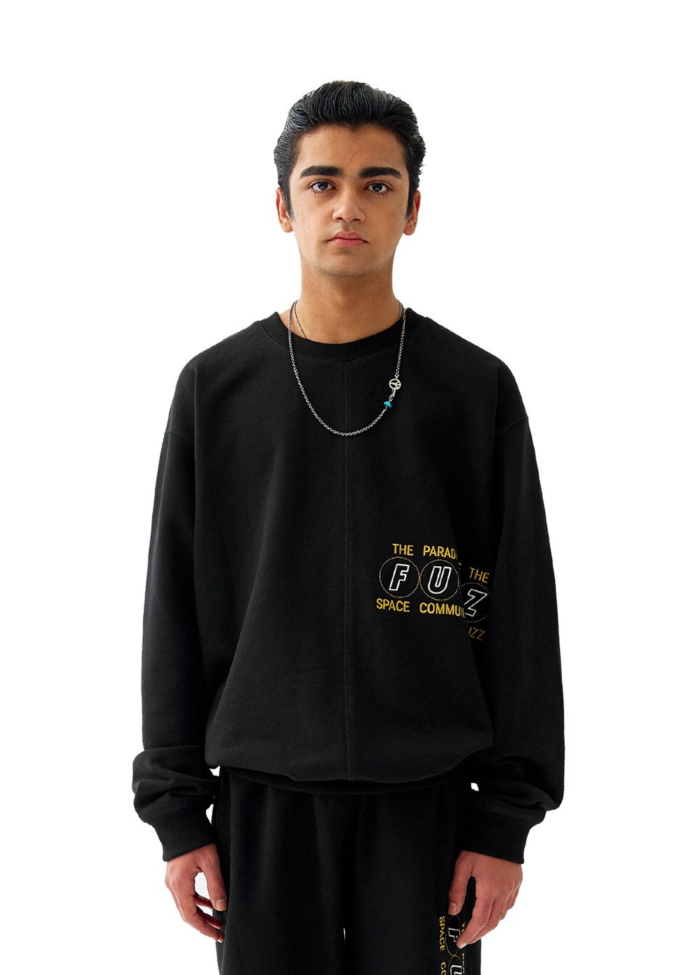 FUZZ COVER STITCH SWEATSHIRT black
