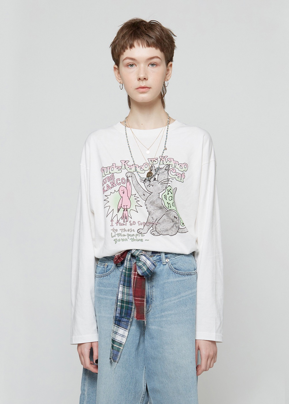 KANCO vs CAT LONG SLEEVE TEE white