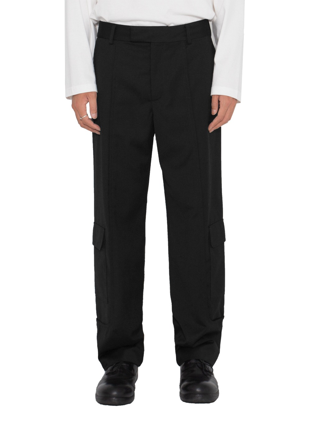LIFUL SIDE CARGO POCKET TROUSERS black