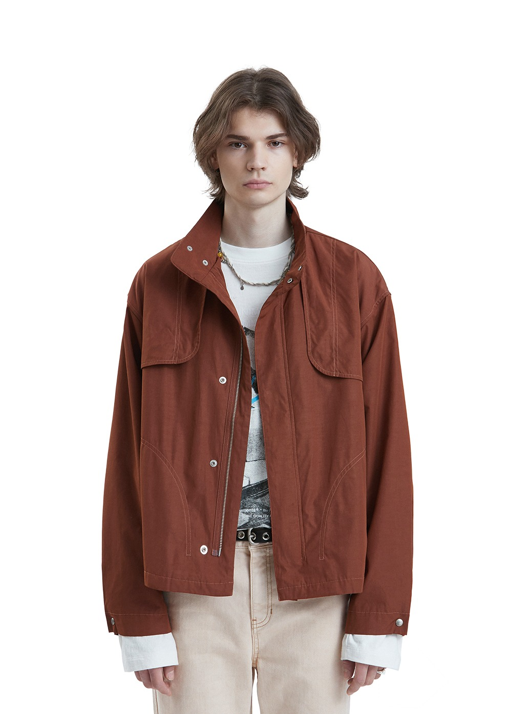 LIFUL CONTRAST STITCH FLAP JACKET red brown