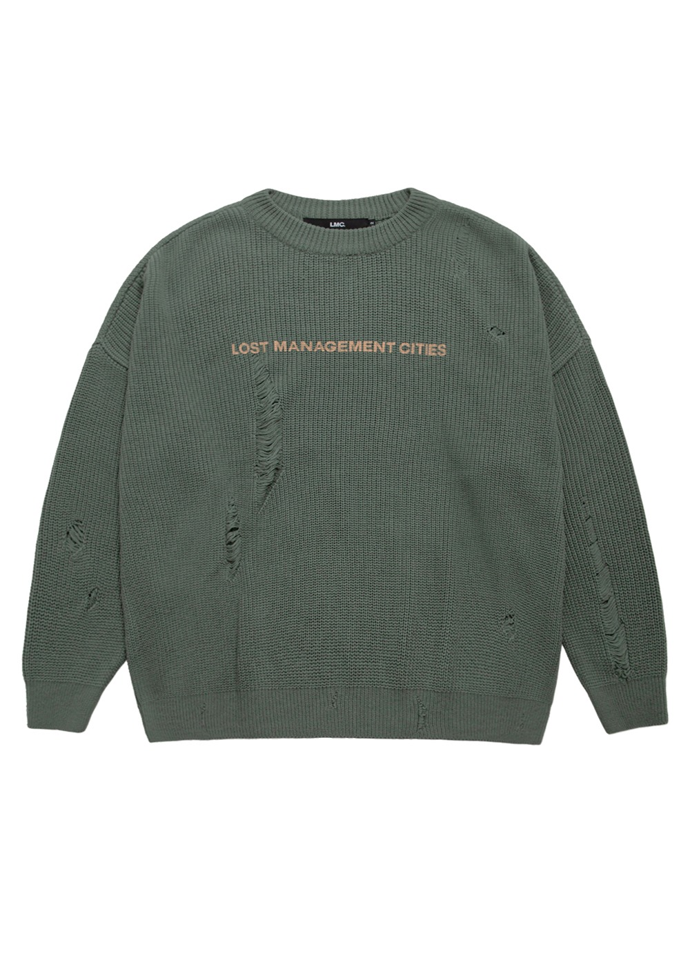 LMC DAMAGE KNIT SWEATER olive
