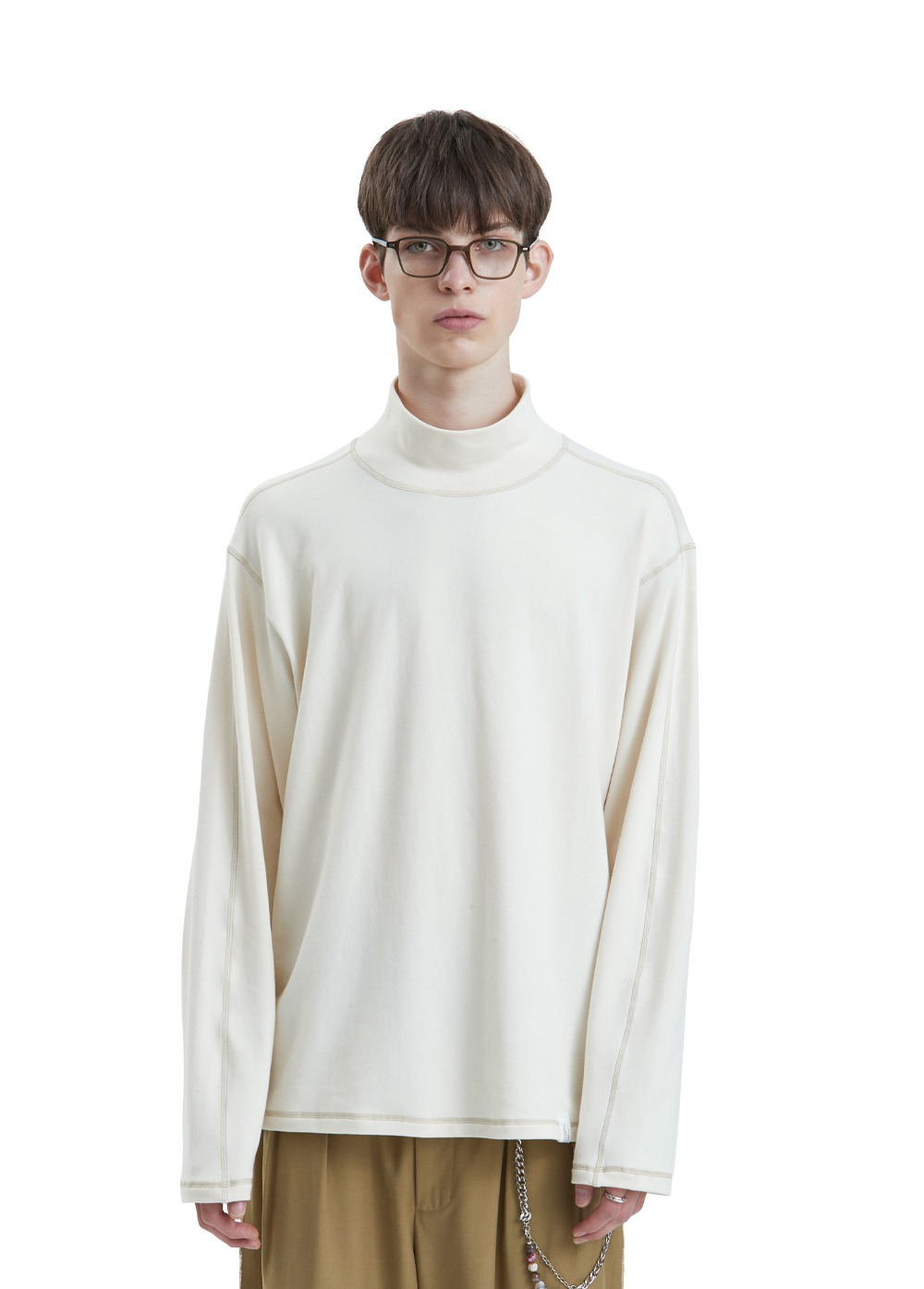 LIFUL CONTRAST TURTLENECK LONG SLEEVE TEE ivory