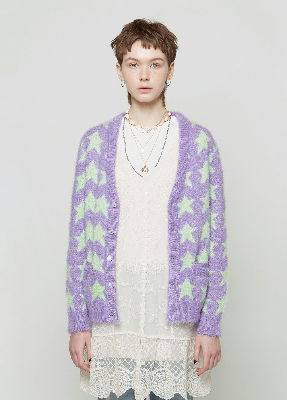 KANCO STAR CARDIGAN powder purple/green